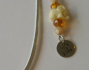 Small Silver Bookmark and Ivory Elephant with Brown Beads and Silver Life is Good Charm