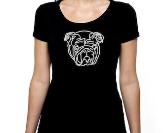 Bulldog Dog RHINESTONE t-shirt tank top  S M L XL 2XL - bling animal rescue love bull bulldogs canine shelter adopt save don't shop puppy