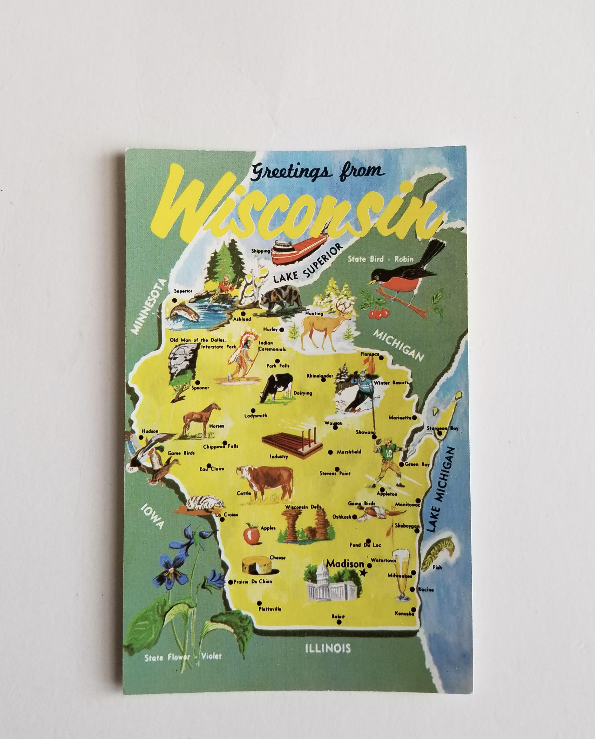 Wisconsin Map Postcard Vintage Greetings From Wisconsin Postcard
