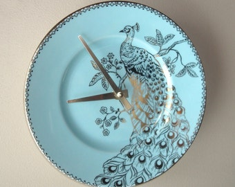 SILENT Soft Teal and Gold Peacock Wall Clock, 9 Inch Porcelain Plate Wall Clock, Peacock Home Decor, Unique Wall Clock  2406