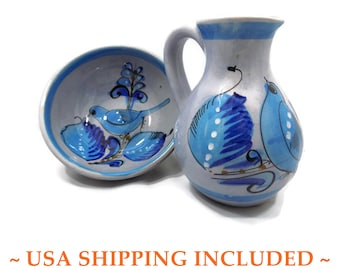 Tonalá Folk Art Pottery Bluebird Pitcher and Bowl Set Marked Mex.
