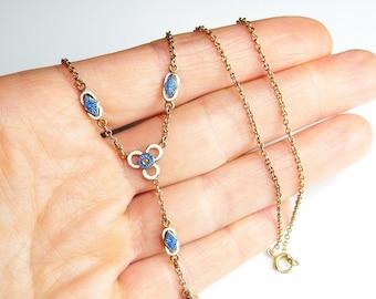 Edwardian Necklace Art Nouveau Jewelry Edwardian Jewelry Delicate Gold Necklace Delicate Gold Jewelry Guilloche Enamel Belle Epoque 12K Gold
