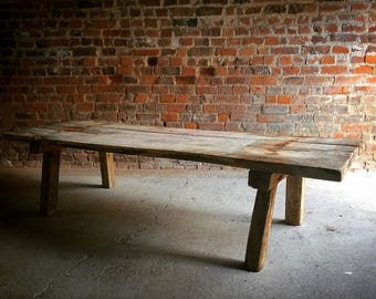 Beautiful Antique Coffee Table Large Rustic 19th Century Victorian Industrial