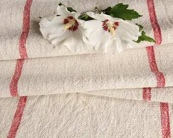 R 440 C: antique, hemp linen roll, faded RASPBERRY RED, grain sack, fabric, 3.82 yards, decor, lin, upholserty project, vintage, decoration,