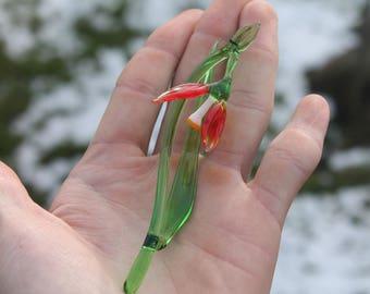 gift mom Glass Flower Snowdrop Glass handblown