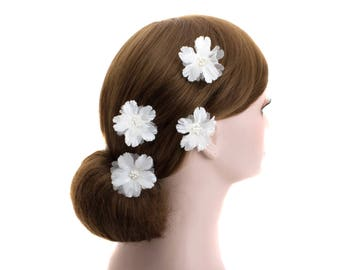 Wedding bridal flower U Pin,bride hair headpiece,Bridesmaid flower hair clips,Prom floral U pins - WHU103