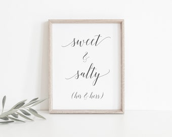Sweet & Salty - Wedding Favour Sign - Printable Wedding Sign