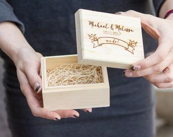 Ring Bearer Box - Free Engraving (  Personalized Wood Ring Box - Custom Engagement Ring Box - Small Gift Box - Ring Pillow Alternative )