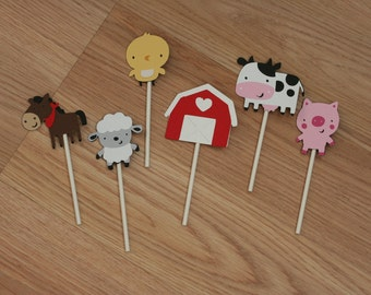 30 Assorted Farm Animal Cupcake Toppers