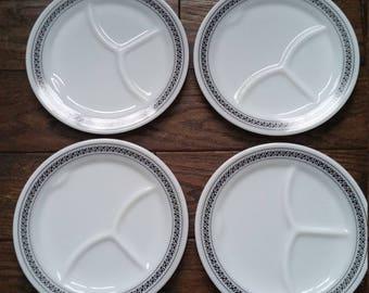 Set of Pyrex Fleur-de-Lis Divided Dinner Plates & Divided dinner plate | Etsy