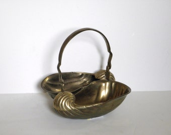 Vintage Brass Nautilus - Brass Shell Basket - Made in India - Solid Brass - Hollywood Regency