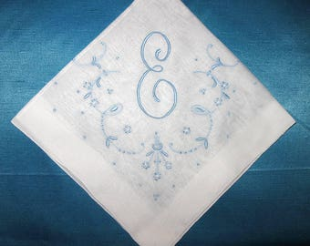 handkerchief for bride, monogram handkerchief, something blue bridal hankie, embroidered initial letter hankie