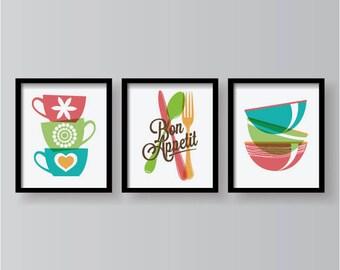 Bon Appetite, Kitchen decor, Kitchen wall art, Kitchen prints, Kitchen set, Kitchen poster, Kitchen wall decor, Set of 3 prints, home decor
