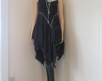 Boho Gypsy Black Lace Tunic Dress Sleeveless Flowing with Ruffles Sequins and Vintage Crocheted Collar Size XS - S