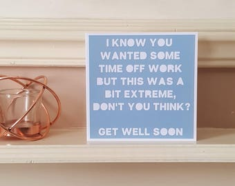 Get Well card, Humour card, Colleague sick, Papercut card, Friend card, Get well soon, Feel better
