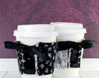 Drink Cup Cozy // Kanji Cup Cozy // reversible // adjustable // tumbler hugger // reusable // eco-friendly // ice cream cozy // drink gifts