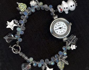 Frosty Fun Wrist Watch - Beaded with a Lampworked Snowman and Wintery Glass Charms