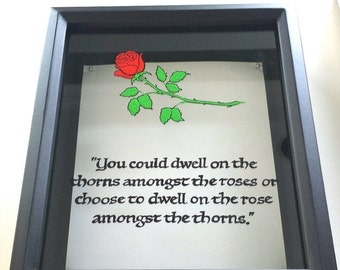 Red rose, quote, deep shadow box, ticket box, custom, hand painted, keepsake box, memory box, display case, wooden,black frame