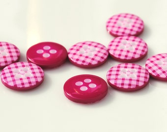 Hot Pink Gingham Buttons - Pack of 10