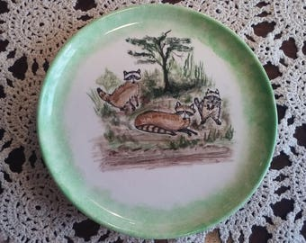 Hand painted plate with foxes