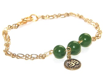 Om Link & Chain Bracelet, Nephrite Jade Gemstone Beads - Spiritual Jewelry