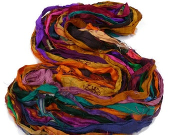 NEW! Recycled Sari Silk Ribbon, Multi Mix Jewel Tones