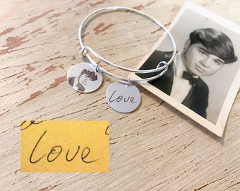 Memorial Photo Engraved Charm Bracelet with or without handwriting/ sympathy gift