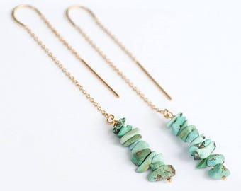 Rough Turquoise Earrings - Long Gold Dangle Earring - Ear Thread Earrings  -December Birthstone Earrings - Long Boho Chick Earrings