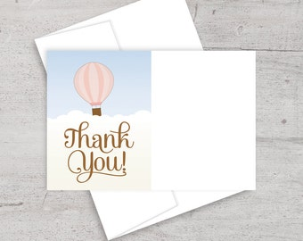 Hot Air Balloon, Baby Shower, Balloon, Thank You Note, Thank You Card, Up Up and Away, Gender Neutral, Matching Thank You, Balloon Party