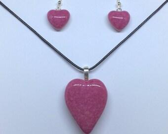 Sassy Pink Happy Heart Pendant & Earrings Set