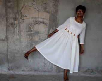 White Tassel Kurta Dress