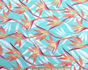 Bird of Paradise Flower on Aqua Swimsuit Fabric