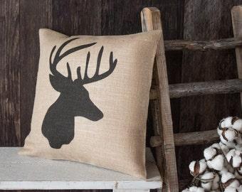 Whitetail Buck burlap throw pillow - Deer hunter gift for the cabin, lodge, or den decor
