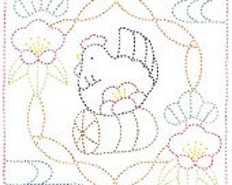 Olympus #1027 Japanese sashiko kit cotton Year of the Rooster WHITE