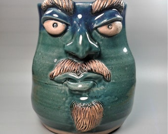 MUG: Teal Blue  Face Mug with Mustache and Goatee  | Wheel Thrown Hand Sculpted  Stoneware Pottery Face Mug | #22