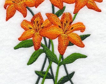 Tiger Lily Bouquet Embroidered Flour Sack Hand/Dish Towel
