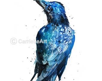 Raven print,raven art,raven watercolour,raven poster,raven watercolor,raven painting,raven gift,bird art,bird print,crow print,crow art