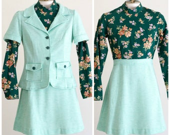 1960s green dress with matching short sleeve jacket