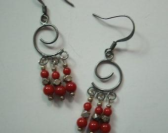 Red Spiral Dangle Earrings