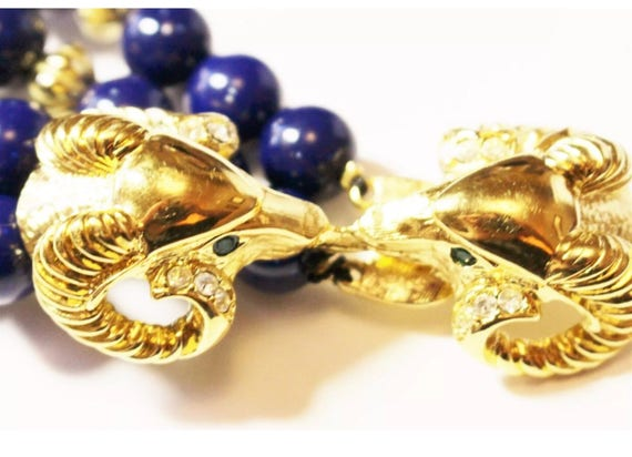 Regal Blue & Goldtone KJL for Avon Kenneth Jay Lane Long Royal Blue Blue Beads With Golden Rams Heads Clasp Necklace