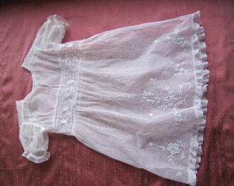 Fabulous Antique French Christening Gown Embroidered Tulle- White Victorian - Baby Vintage Dress White embroideries from France