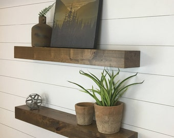 Set of Two Contemporary Rustic Floating Shelves // Floating Shelves // Floating Shelf //Contemporary Floating Shelves // Wood Shelves