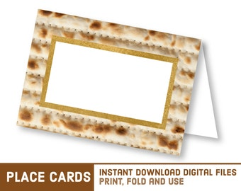 Printable Passover Pesach Place Cards - DIY Matzo Name Cards - Matzoh Place Card - 2017 Seder Food Signs - פסח Matza Matzah Kosher Name Tags