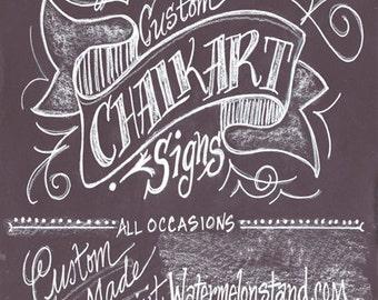 Chalkboard Sign Custom Personalized Original Art Poster on Foamcore
