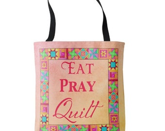"""Eat Pray Quilt Tote Bag 16"""" x 16"""" Yellow Coral Orange Ombre, Whimsy Colorful Multicolor Quilt Block Art, Original Quilt Art, Quilter Words"""