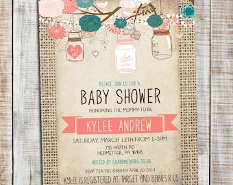 Teal and Coral Burlap Baby Shower Girl Invitation, Mason Jar _54
