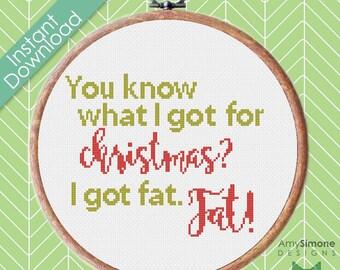 Christmas naughty list Santa Typography Cross Stitch Pattern