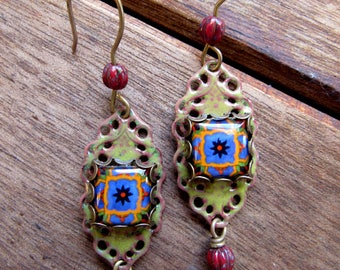 Filigree Earrings, Mexican earrings, Mexican pottery pattern, enamel earrings, Folk art earrings, Statement earrings, New design earrings
