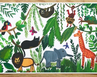 Wild Life Art Print, Nursery Art Print, Nursery Animal Decoration, A4 Art Print, Animals Art Print, Jungle Art Print