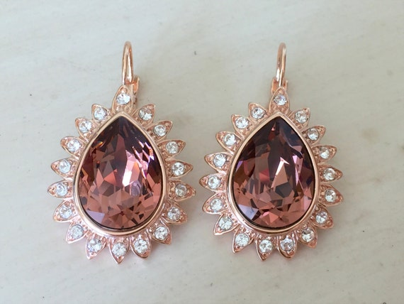 Blush Rose Pear Crystal Halo Bridal Earrings, Rose Gold